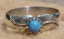 Navajo Denim Lapis Double Leaf Stamped Ring