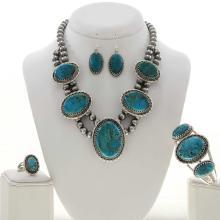 Kingman Turquoise Desert Pearl Necklace Set Ring Earrings Bracelet
