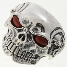 Silver Ghost Rider Mens Ring Skull Coral Eyes Any Size