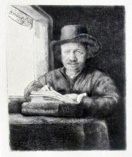 Rembrandt (After) Self Portrait Drawing At Window Etching
