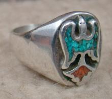 Vintage 70's Navajo Turquoise Coral Inlay Waterbird Cast Ring