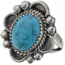 Natural Kingman Spiderweb Turquoise Ring Ladies Silver Design