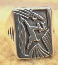 Navajo Running Deer Silver Overlay Cast Ring