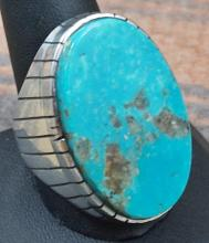 Xlarge Heavy Navajo Oval Turquoise Slab Cast Ring By R.jack