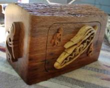 Large Solid Oak Kokopelli Prayer Feather Theme Jewelry Box