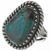 Native American Genuine Bisbee Turquoise Ring Sterling One of a Kind