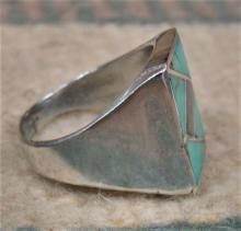 Vintage Zuni Turquoise & Abalone Channel Inlay Cast Ring