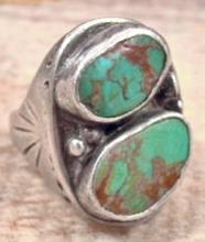Vintage Navajo Double Kings Manassa Turquoise Stamped Cast Ring