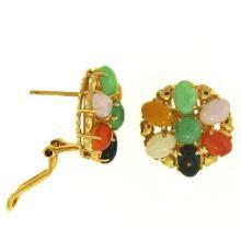Multi-color Jade Earrings - Burmese