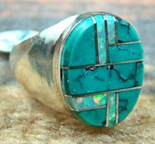 Navajo Turquoise-opal Channel Inlay Cast Ring