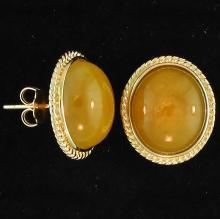 Yellow Jade Earrings - Burmese