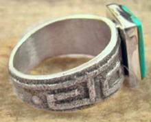 Solid Navajo Square Turquoise Southwest Decorated Tufa Cast Ring By A.bowman