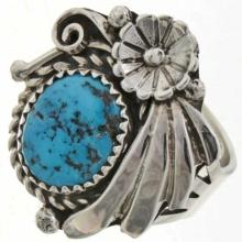 Natural Kingman Turquoise Ladies Ring Flower Fan Design