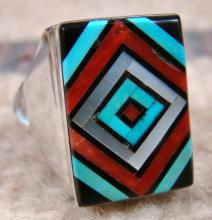 Zuni Square Faced Multi Stone Inlay Eye Dazzler Cast Ring By V.vacit