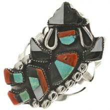 Old Pawn Zuni Rainbow Man Ring Small Ladies 20th Century