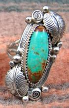 1- Large Navajo Pilot Mountain Turquoise Scrolls Leaves Rings By Roie Jaque