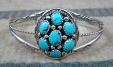 Navajo 7 Stone Turquoise Satellite Cluster Bracelet By M.chee