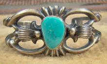 Navajo Carico Lake Turquoise Decorated Sandcast Bracelet By H.morgan