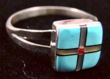 Zuni Square Face Turquoise/mother Of Pearl/coral Cross Inlay Rings By Varden Vacit