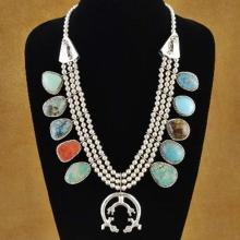 Old Pawn Style Multistone Sleeping Beauty Turquoise Sterling Squash Blossom Necklace