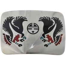 Inlaid Coral Turquoise Belt Buckle Silver Eagles with Hopi Sunface