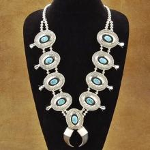 Turquoise Squash Blossom Sterling Silver Concho Bench Bead Necklace