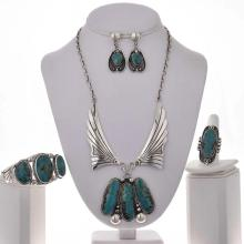 Turquoise Silver Y Necklace Set Navajo Ring Earrings Cuff