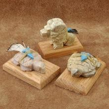 Lot of 3 Small Stone Native American Animal Statuette Table Fetishes with Wood Base