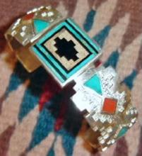 Heavy Navajo Inlaid Turquoise Coral Onyx Silver Overlay Cuff