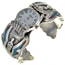 Old Pawn Mens Watch Cuff Turquoise Singer Style Inlay