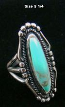 Navajo Oblong Turquoise Decorative Rings By Ott- Multiple Sizes