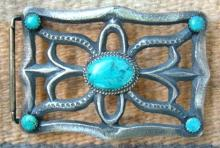 Navajo 5 Stone Turquoise Spider Ketoh Sandcast Buckle By A.brown 2 1/8