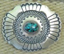 Navajo Turquoise Decorated Prayer Feathers Shield Buckle By M.cayatineto 2 1/4