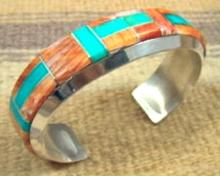 Navajo Turquoise Spiny Oyster Channel Inlay Bracelet By H.spencer