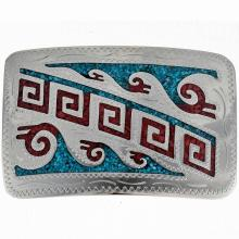 Turquoise Silver Belt Buckle Inlaid Native American Water Pattern