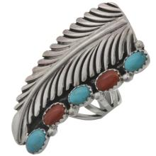 Natural Turquoise Coral Leaf Ring Any Size Ladies Pointer Style