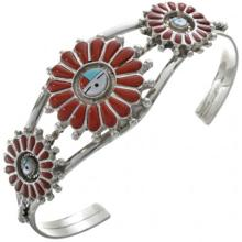 Inlaid Coral Sunface Ladies Bracelet Sterling Cuff