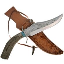 Antler Handle Turquoise Knife Big Bowie Engraved Blade