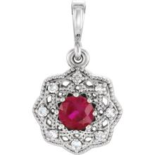 14K White Ruby & .06CTW Diamond Halo-Style Pendant