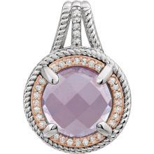 Sterling Silver Rose Gold Plated Rose Quartz & 1/8 CTW Diamond Pendant
