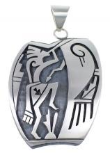 Hopi Indian George Phillips Kokopelli Arrow Silver Pendant