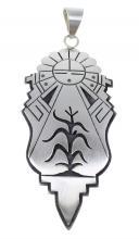 Hopi George Phillips Sun Corn Stalk Sterling Silver Pendant