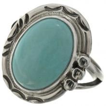 Natural Kingman Turquoise Ring Navajo Silver Ladies Design