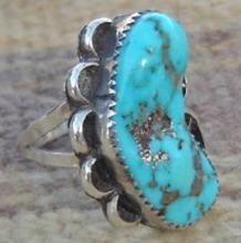 Large Navajo Turquoise Golden Pyrite Scrolls Ring