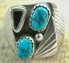 Vintage Navajo Square Faced Double Turquoise Fan Cast Ring