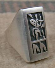 Large Hopi Rectangular Kokopelli Silver Overlay Cast Ring By D.silas