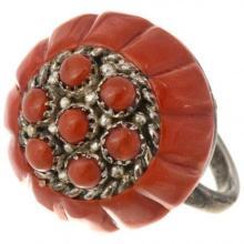 Old Pawn Zuni Mediterranean Coral Ring Lee & Mary Weebothee