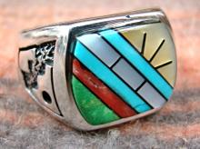 Mans Zuni Multi Stone Inlay /overlay Cast Ring By Bevis Tsadiasi