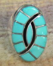 Large Zuni Turquoise Inlay Hummingbird-friendship Ring