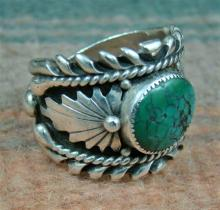 Large Vintage Navajo Turquoise Double Leaf Ring